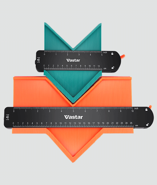 """Contour Gauge with Lock, Vastar 2 Pack Widen Shape Contour Duplicator Profile Tool 5"""" and 10"""", Outline Gauge for Corners, Woodworking Templates, Tiles and Laminate"""