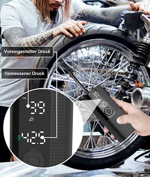 Vastar Elektrische Luftpumpe, tragbar, Air Kompressor mit großem LCD-Display und Abpumpfunktion, Luftdrucksensor, hohe Präzision, 2000 mAh, 120 PSI