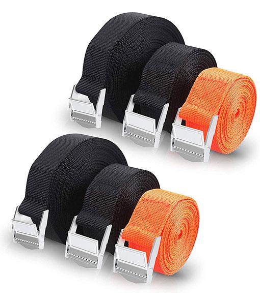 Vastar Zurrgurt – solide Klammern ziehen den Gürtel, geeignet für die Belastung und zum Anziehen der Polyesterfasern, 3 Schwarz, 2 Rot (2,5 cm x 5 m)